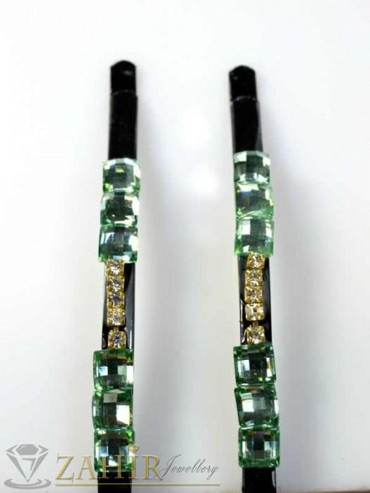 Два броя метални фиби с цветни кристали - FI1160