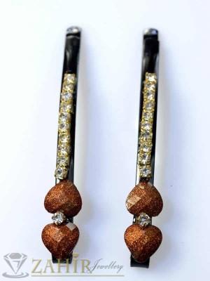 Два броя метални фиби с цветни кристали - FI1197
