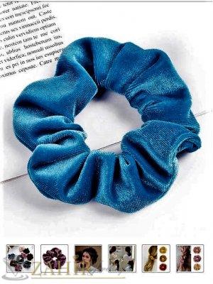 Яркосин велурен  ластик за коса с диаметър 13 см, много мек, носи се на опашка или за гривна - L1122