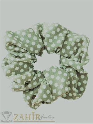 ТОП ХИТ ластик за коса зелено каки с бели точки,  диаметър 9 см, бързосъхнещ, носи се на опашка или за гривна - L1138
