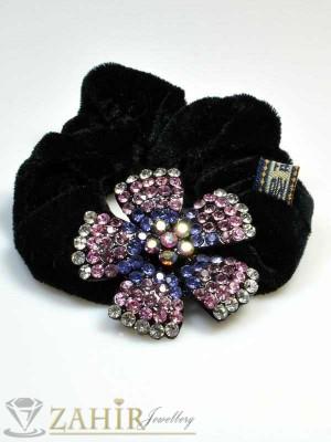 Черен велурен ластик с цвете от цветни кристали - LK1035