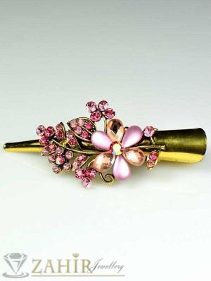 Метална щипка тип щъркел- 8 см с блестящи розови кристали - ST1043