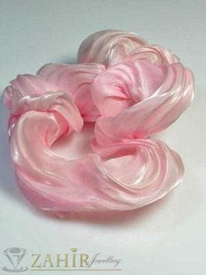 Розов висококачествен сатенен ластик за коса - L1034