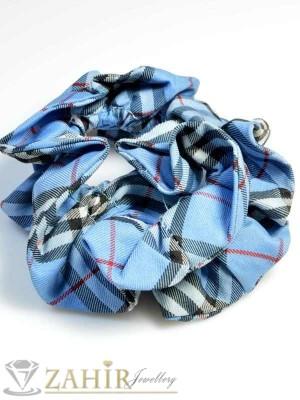 Синьо каре двулицев ластик за коса - L1042