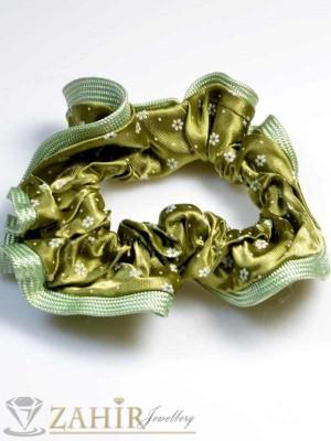 Маслиненозелен двулицев ластик за коса - L1049