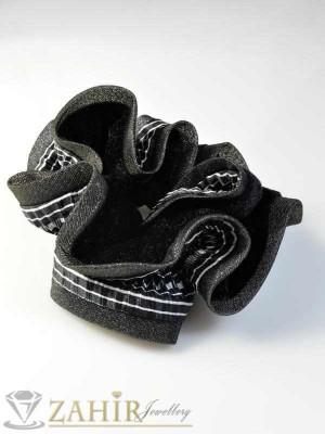 Двулицев черен ластик за коса - L1095
