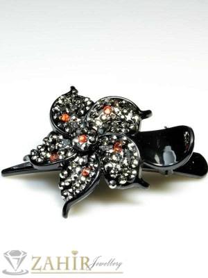 Луксозна черна шнола щъркел с блестящи графитени кристали, дълга 10 см, за цялата коса - HC1046