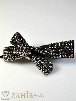 Луксозна черна шнола-щъркел с графитени блестящи кристали, подходяща за кок, дълга 10 см - HC1059