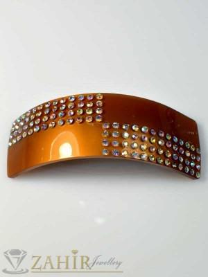 Луксозна черна шнола-щъркел с блестящи кристали за кок - HC1064