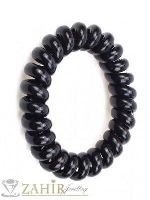 Черен силиконов ластик спирала, голям 5 см, носи се на опашка или за гривна - LS1000