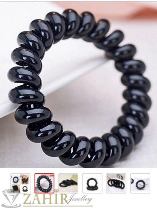 Аксесоари за коса - 2 бр. черен силиконов ластик спирала, голям 5 см, носи се на опашка или за гривна - LS1001