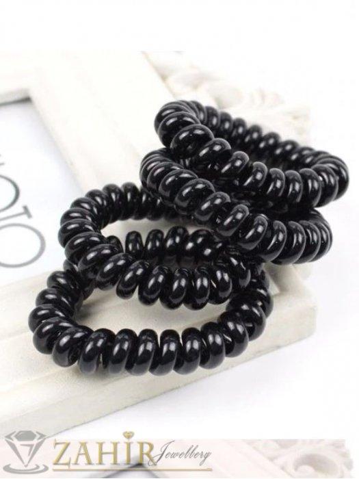Аксесоари за коса - 4 бр. черен силиконов ластик спирала, голям 5 см, носи се на опашка или за гривна - LS1002
