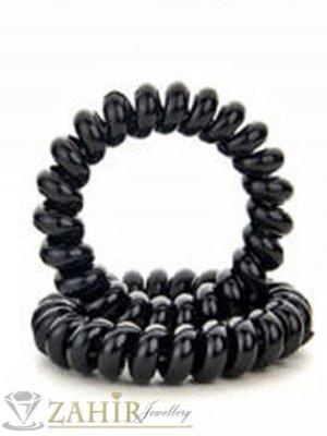 2 бр. черен силиконов ластик спирала, голям 5 см, носи се на опашка или за гривна - LS1001