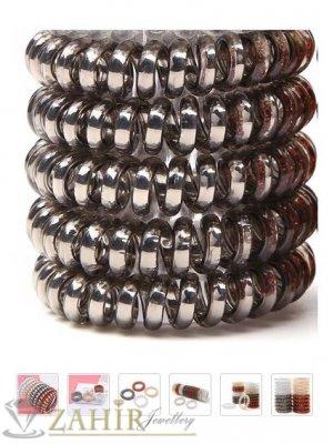 4 бр. графитен  перлен силиконов ластик спирала, голям 5 см, носи се на опашка или за гривна - LS1006