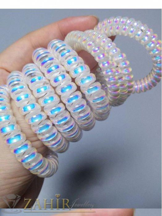 Аксесоари за коса - 2 бр.силиконов ластик спирала с цвят заскрежена перла, голям 5 см, носи се на опашка или за гривна - LS1009