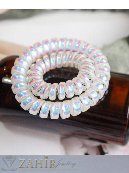 Аксесоари за коса - 4 бр.силиконов ластик спирала с цвят заскрежена перла, голям 5 см, носи се на опашка или за гривна - LS1008