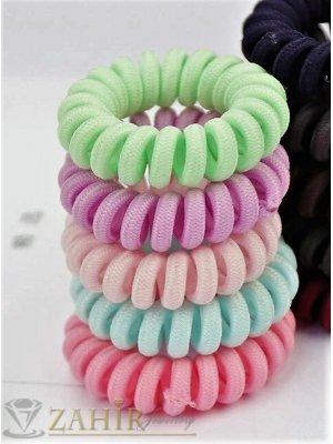 5 бр. тъкан ластик спирала със светли  цветове, голям 5 см, носи се на опашка или за гривна - LS1011