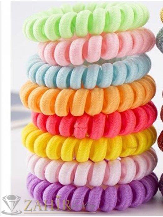 Аксесоари за коса - 8 бр. тъкан ластик спирала със свежи ярки цветове, голям 5 см, носи се на опашка или за гривна - LS1013