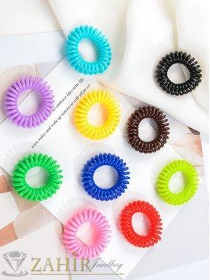 10 бр. малки цветни ластичета спирали със свежи ярки цветове, всяко по 3 см, носят се на опашка или за гривна - LS1014