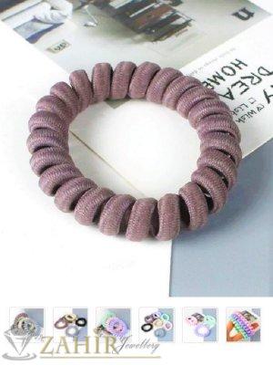 1 бр. ластик спирала с цвят таупе,нов дизайн с мека тъкан, голям 5 см, носи се на опашка или за гривна - LS1017