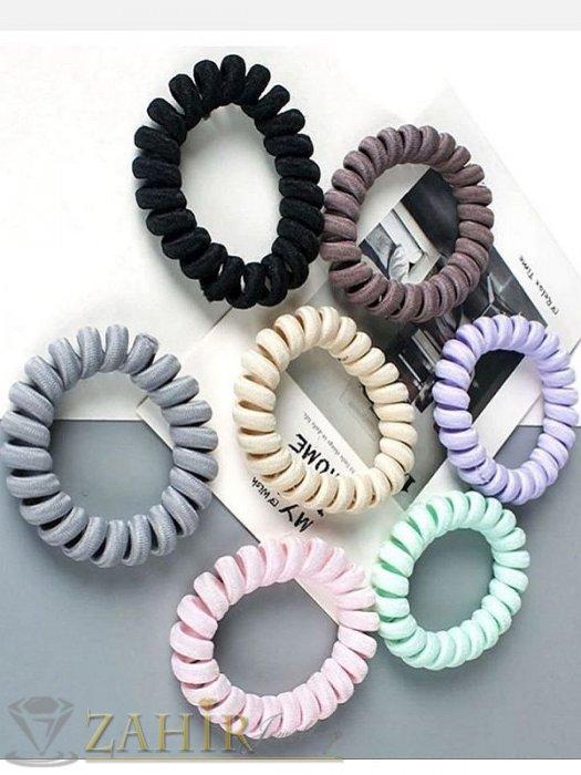 Аксесоари за коса - 1 бр. ластик спирала с цвят праскова,нов дизайн с мека тъкан, голям 5 см, носи се на опашка или за гривна - LS1019