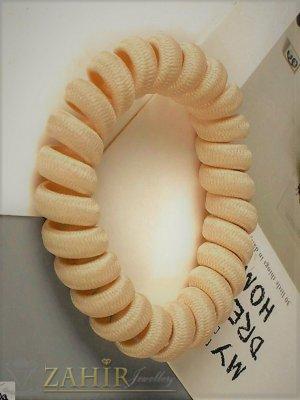 1 бр. ластик спирала с цвят праскова,нов дизайн с мека тъкан, голям 5 см, носи се на опашка или за гривна - LS1019