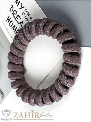 1 бр. ластик спирала със сиво-черен цвят ,нов дизайн с мека тъкан, голям 5 см, носи се на опашка или за гривна - LS1020