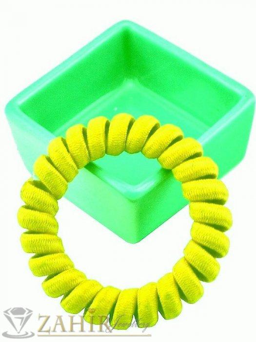 Аксесоари за коса - 1 бр. ластик спирала с ярко жълт цвят ,нов дизайн с мека тъкан, голям 5 см, носи се на опашка или за гривна - LS1022