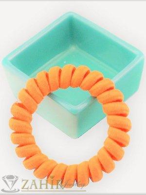 1 бр. ластик спирала с оранжев цвят ,нов дизайн с мека тъкан, голям 5 см, носи се на опашка или за гривна - LS1023