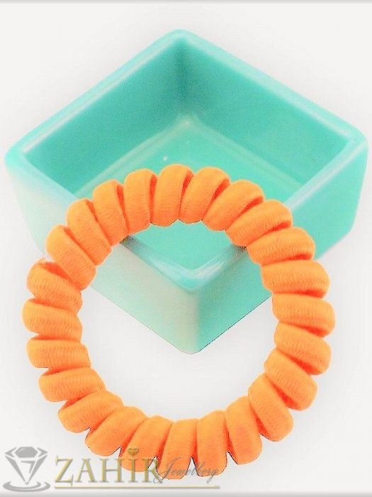 Аксесоари за коса - 1 бр. ластик спирала с оранжев цвят ,нов дизайн с мека тъкан, голям 5 см, носи се на опашка или за гривна - LS1023