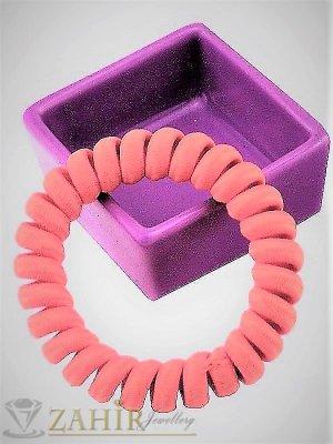 1 бр. ластик спирала с прасковено розов цвят ,нов дизайн с мека тъкан, голям 5 см, носи се на опашка или за гривна - LS1024