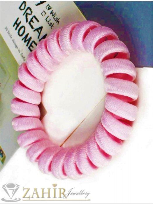 Аксесоари за коса - 1 бр. ластик спирала с бонбонено розов цвят ,нов дизайн с мека тъкан, голям 5 см, носи се на опашка или за гривна - LS1025