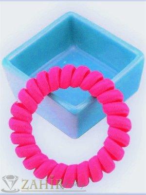 1 бр. ластик спирала с ярък розово-червен цвят ,нов дизайн с мека тъкан, голям 5 см, носи се на опашка или за гривна - LS1027