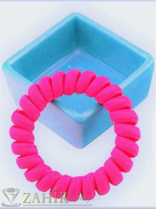 Аксесоари за коса - 1 бр. ластик спирала с ярък розово-червен цвят ,нов дизайн с мека тъкан, голям 5 см, носи се на опашка или за гривна - LS1027