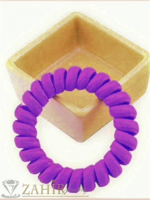 Аксесоари за коса - 1 бр. ластик спирала с лилав цвят ,нов дизайн с мека тъкан, голям 5 см, носи се на опашка или за гривна - LS1029