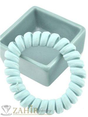 1 бр. ластик спирала с бледо зелен цвят ,нов дизайн с мека тъкан, голям 5 см, носи се на опашка или за гривна - LS1031