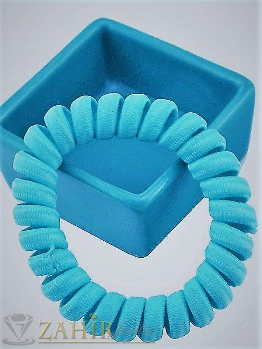 Аксесоари за коса - 1 бр. ластик спирала със небесно син цвят ,нов дизайн с мека тъкан, голям 5 см, носи се на опашка или за гривна - LS1032