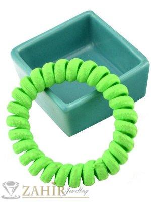 1 бр. ластик спирала с електриково жълто зелен цвят ,нов дизайн с мека тъкан, голям 5 см, носи се на опашка или за гривна - LS1033