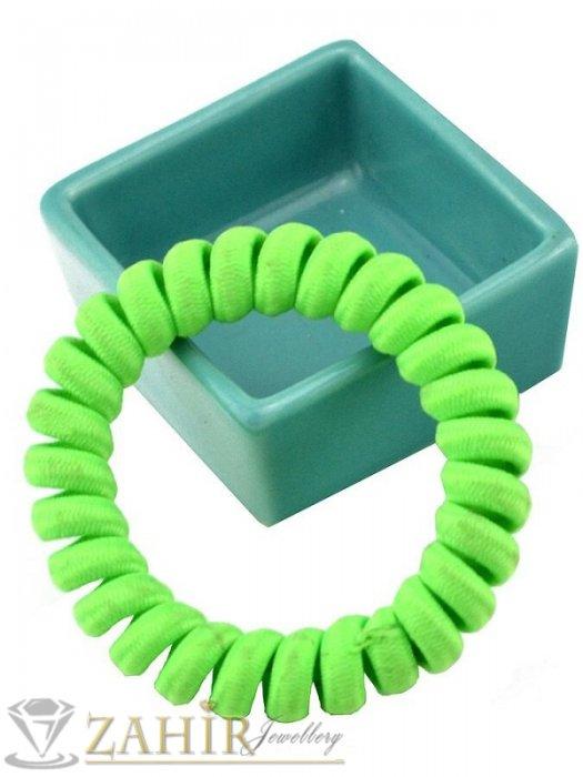 Аксесоари за коса - 1 бр. ластик спирала с електриково жълто зелен цвят ,нов дизайн с мека тъкан, голям 5 см, носи се на опашка или за гривна - LS1033