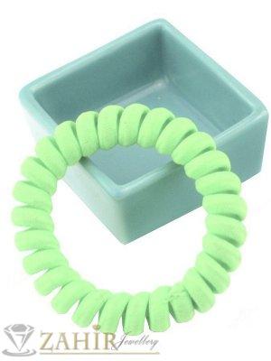 1 бр. ластик спирала с електриково светло зелен цвят ,нов дизайн с мека тъкан, голям 5 см, носи се на опашка или за гривна - LS1034