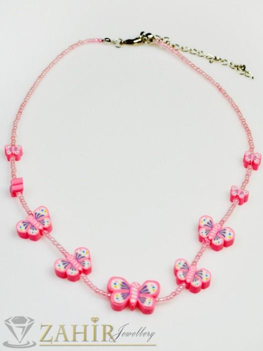 Дамски бижута - Детско колие с пеперуди, сърца или цветя и бонбонени цветове, дълго 40 см - K1579