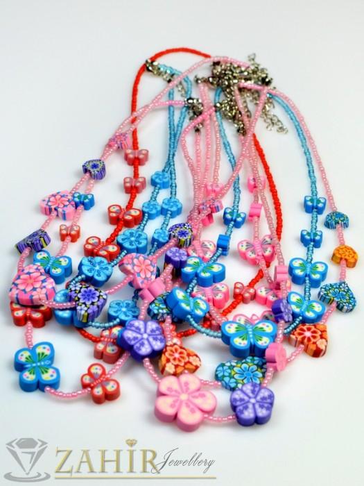 Детско колие с пеперуди, сърца или цветя и бонбонени цветове, дълго 40 см - K1579