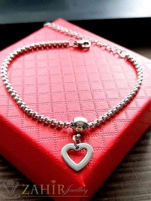 Красива стоманена гривна за ръка с висулка стоманено сърце 0,8 см, регулира се до 20 см - G1619