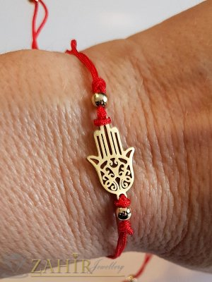Позлатен стоманен елемент Ръката на Фатима на регулираща се гривна против уроки - GU1001
