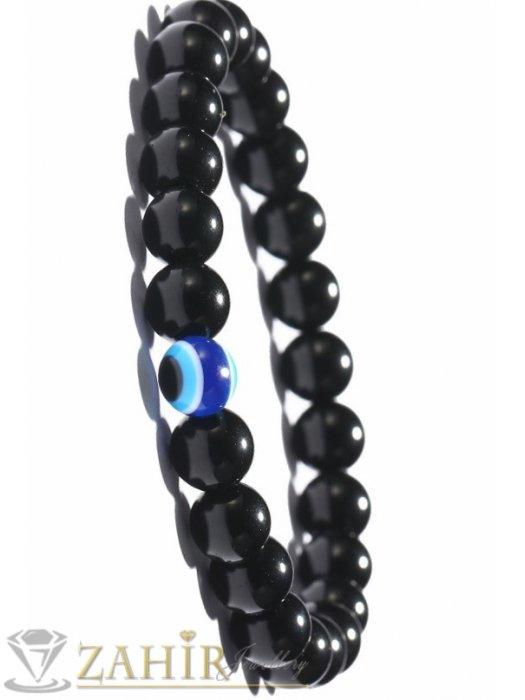 Гривна със синьо око против уроки и естествен черен лъскав ахат 8 мм топче, 7 размера - GU1051