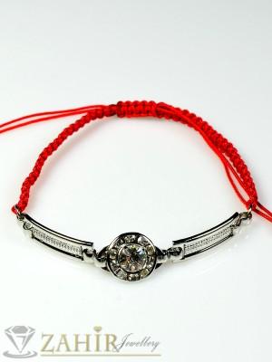 Сребриста верижка 7 см с бели кристали на червена ръчно плетена гривна, регулираща се дължина - GU1073