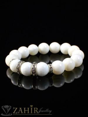 Ръчно изработена гривна в 3 размера,  естествен бял ахат мат 10мм - GA1026