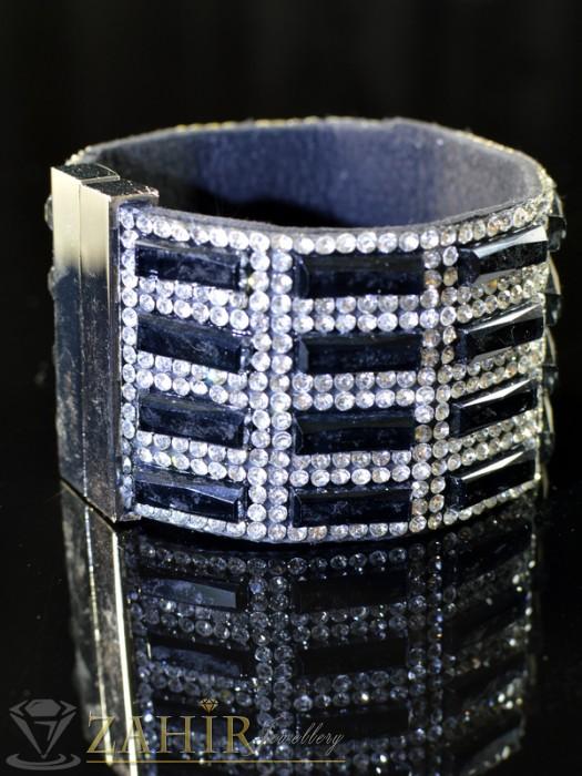 Дамски бижута - Луксозна гривна широка 5см с черни и бели кристали , дълга 19 см- G1275