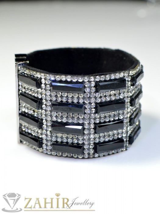 Луксозна гривна широка 5см с черни и бели кристали , дълга 19 см- G1275