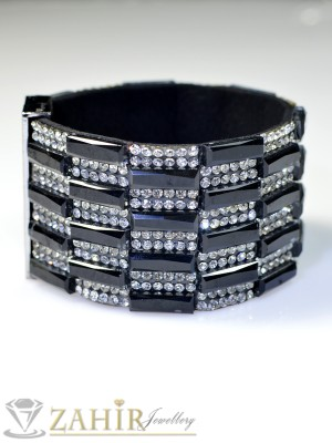 Луксозна гривна 5см с черни и бели кристали - G1277